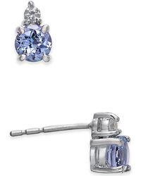 Macy's - Tanzanite (1/2 Ct. T.w.) & Diamond Accent Stud Earrings In 14k White Gold - Lyst