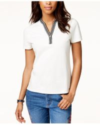 Tommy Hilfiger - Contrast-trim Short-sleeve Top, Created For Macy's - Lyst