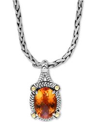 Effy Collection - Citrine Pendant Necklace (5-7/8 Ct. T.w.) In Sterling Silver & 18k Gold - Lyst