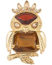 Carolee - Gold-tone Stone Owl Pin - Lyst
