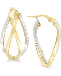 Macy's - Two-tone Interlocking Twisted Oval Hoop Earrings In 10k Yellow And White Gold - Lyst