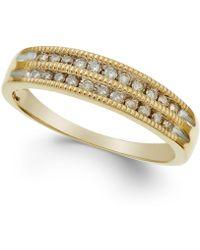 Macy's - Diamond Two-row Milgrain Band (1/5 Ct. T.w.) In 14k Rose Gold - Lyst