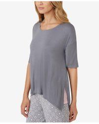 Ellen Tracy - Striped-panel Solid Pyjama Top - Lyst