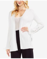 Vince Camuto - Ribbed Lace-up Cotton Cardigan - Lyst