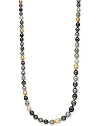 "Macy's - Cultured Tahitian, Cultured Golden South Sea, & Cultured White South Sea Pearl (8-11mm) Strand 36"" Statement Necklace - Lyst"