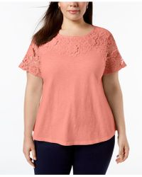 Charter Club Womens Eyelet Trim Basic T-Shirt