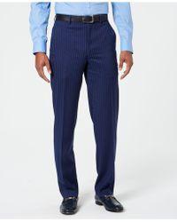 Sean John - Classic-fit Stretch Blue/pink Pinstripe Suit Trousers - Lyst