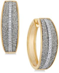 Macy's - Diamond Glitter Hoop Earrings (1/5 Ct. T.w.) In 18k Gold-plated Sterling Silver - Lyst