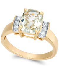 Macy's - Green Quartz (1-7/8 Ct. T.w.) & Diamond (1/8 Ct. T.w.) Ring In 14k Gold - Lyst