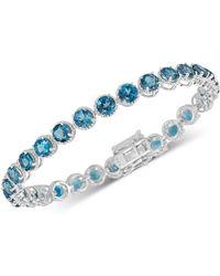 Macy's - London Blue Topaz Rope-frame Link Bracelet (16 Ct. T.w.) In Sterling Silver - Lyst
