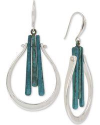 Robert Lee Morris - Silver-tone Blue Patina Stick Sculptural Drop Earrings - Lyst