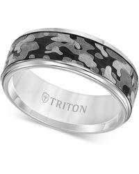 Triton - Laser-engraved Camo Band In White Tungsten Carbide - Lyst