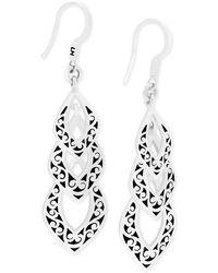 Lois Hill - Decorative Scroll Triple Drop Earrings In Sterling Silver - Lyst