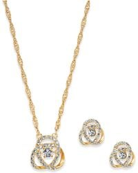 Charter Club - Pavé Knot Pendant Necklace & Stud Earrings Set, Created For Macy's - Lyst