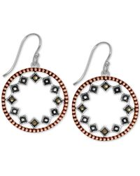 Macy's - Marcasite Two-tone Circle Drop Earrings In Rose Gold- & Fine Silver-plate - Lyst