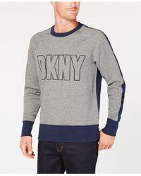 DKNY - Colorblocked Logo-print Fleece Sweatshirt - Lyst