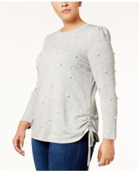 INC International Concepts - Plus Size Faux Pearl-studded Sweatshirt - Lyst