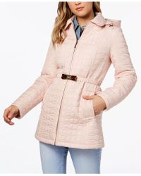 Kate Spade - Bow-belt Hooded Quilted Coat - Lyst