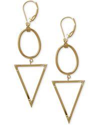 Macy's - Oval And Triangle Geometric Earrings In 14k Gold - Lyst