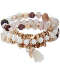 Lonna & Lilly - Gold-tone 3-pc. Set Bead & Tassel Stretch Bracelets - Lyst
