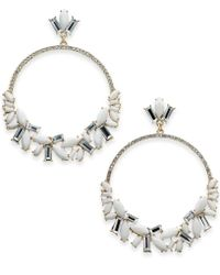 """INC International Concepts - I.n.c. Extra Large 3"""" Silver-tone Stone Crystal & Pavé Drop Hoop Earrings, Created For Macy's - Lyst"""