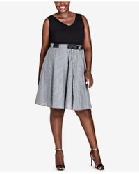City Chic - Trendy Plus Size Contrast Fit & Flare Dress - Lyst