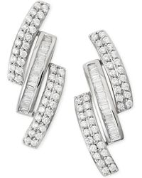 Wrapped in Love - Diamond Three-row Earrings (1 Ct. T.w.) In 14k White Gold - Lyst