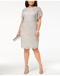 Adrianna Papell - Plus Size Beaded Flutter-sleeve Dress - Lyst