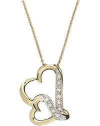 Macy's - Double Wavy Heart Diamond Pendant Necklace In 18k Gold Over Sterling Silver (1/10 Ct. T.w.) - Lyst