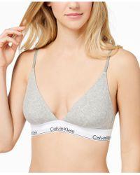 d52d1c7831e Calvin Klein - Modern Cotton Logo-band Triangle Bralette Qf1061 - Lyst