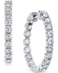 Macy's | Diamond Hoop Earrings In 14k White Gold (2-1/2 Ct. T.w.) | Lyst