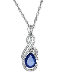 Macy's - Sapphire (1-1/3 Ct. T.w.) And Diamond (1/5 Ct. T.w.) Pendant Necklace In 14k White Gold - Lyst