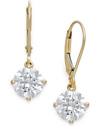 Arabella - Swarovski Cubic Zirconia Leverback Earrings In 14k Gold (4-1/2 Ct. T.w.) - Lyst