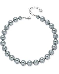 Charter Club - Silver-tone Cubic Zirconia & Gray Imitation Pearl Collar Necklace - Lyst
