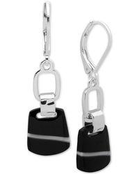Nine West - Silver-tone Black Stone Drop Earrings - Lyst