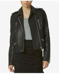 Avec Les Filles - Stretch Leather Moto Jacket - Lyst