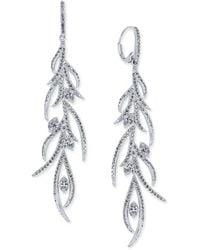 Danori | Silver-tone Feathered Crystal Pavé Linear Drop Earrings | Lyst