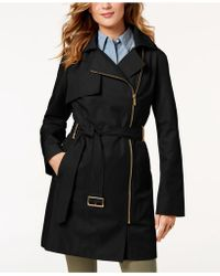 Michael Kors - Michael Petite Asymmetrical Belted Raincoat - Lyst