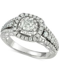 Macy's - Diamond Halo Engagement Ring (1-5/8 Ct. T.w.) In 14k White Gold - Lyst