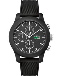 Lacoste - Unisex Chronograph 12.12 Black Silicone Strap Watch 44mm 2010821 - Lyst