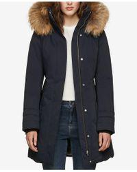 SOIA & KYO - Hooded Fur-trim Coat - Lyst