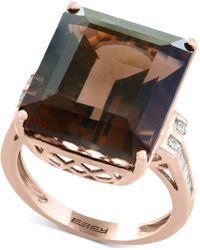 Effy Collection | Smoky Quartz (16-9/10 Ct. T.w.) & Diamond (1/5 Ct. T.w.) Ring In 14k Rose Gold | Lyst
