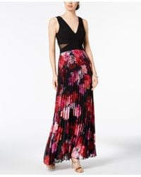 Xscape - Pleated Floral-print Gown, Regular & Petite Sizes - Lyst