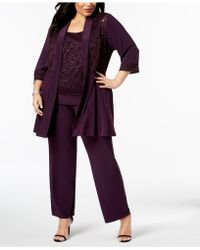 R & M Richards - Plus Size Embellished Lace Jacket, Shell & Pants - Lyst