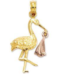 Macy's - 14k Gold And 14k Rose Gold Charm, Stork Charm - Lyst