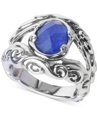 Carolyn Pollack - Lapis Lazuli/rock Quartz Openwork Statement Ring (3 Ct. T.w.) In Sterling Silver - Lyst