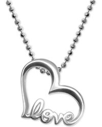 Alex Woo - Heart Love Pendant Necklace In Sterling Silver - Lyst