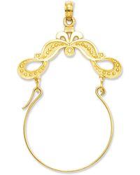 Macy's - 14k Gold Charm Holder, Polished Ribbon Decorated Charm Holder - Lyst