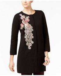 Alfani - Embellished Sweater Coat - Lyst