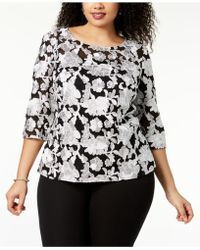 Alex Evenings - Plus Size Embroidered Mesh Top - Lyst